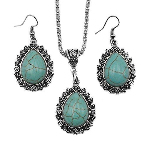Jasmine Costume Pattern (Vintage Retro Hollow Pattern Waterdrop Royal Turquoise Necklace Earrings Set Women Jewelry Diamond)