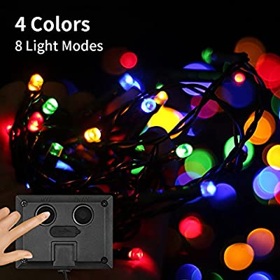 Solar String Lights, AQQEF LED Christmas Lights 39ft 100 LED Waterproof 1200 mAh Rechargeable LED Rope Lights for Garden, balcony, Party, Wedding(4 Colors)