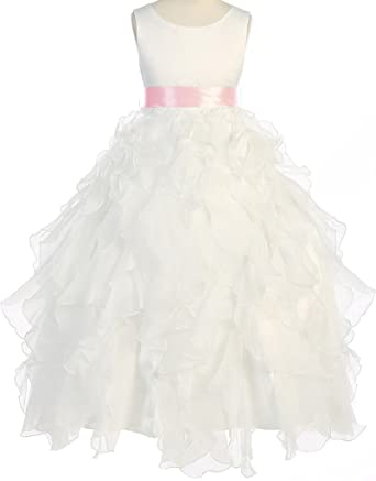 8d1cc3615cb Amazon.com  Flower Girl Layered Ruffle Organza Ankle Length Dress for Big  Girl Ivory Pink 10 8.88  Clothing