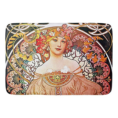 Alphonse Mucha Daydream Floral Vintage Art Nouveau Non-Slip Bath Mat Doormat Coral Fleece Kitchen Floor Rug Front Door Mat Funny Flannel Carpet 23.6