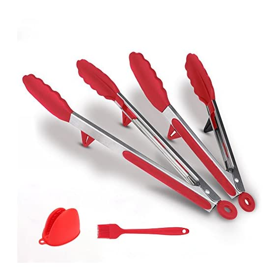 Fodier Cooking Utensils 1 PREMIUM FDA APPROVED SILICONE: FODIER premium silicone salad tongs is 100% FDA Grade and BPA Free. It's heat resistant to 480F, and stain and odor resistant. FODIER tongs heads offer the best grip and control available, and simply won't melt, warp, rust. EASY TO USE & DISHWASHER SAFE - Scalloped steel heads coated in silicone with Non-slip Surface design offer you the best control on food. Enough silicone tips give you comfortable. Sturdy stainless steel with premium heat resistant, no-stick silicone tips is easy to clean and dishwasher safe. LOCKING MECHANISM & HANGING LOOPS - Pull the lock and store them in your drawer or hang them while using minimum space!