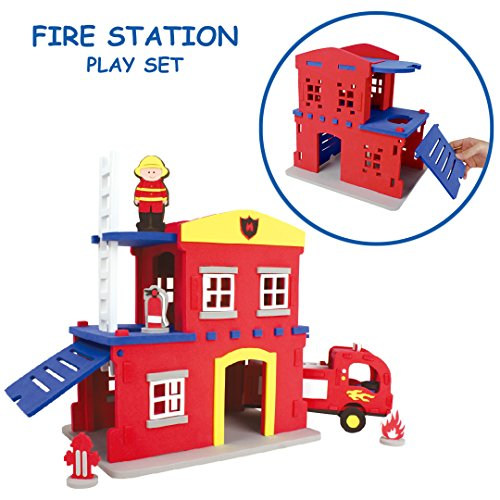 Foundation Foam Toys Fire Station 3-D Puzzle and Building Set | The Foam Cut-Outs Connect to Construct this Fire Station!