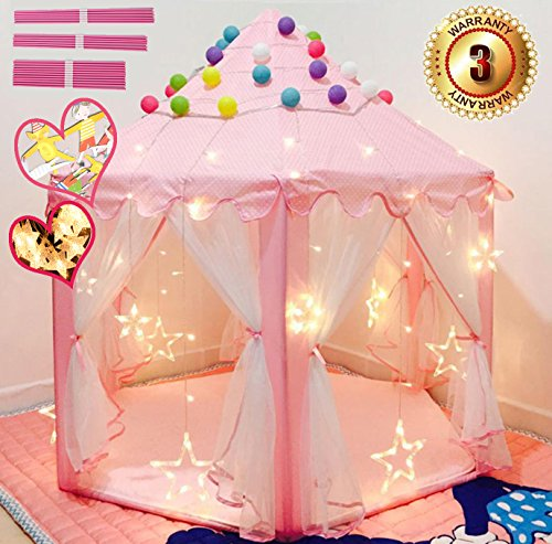 EZGOshop Princess Play Tent Castle (Metal Poles) Kids Play House Tent Indoor Outdoor with Star Lights Banners and Secret Gift 55