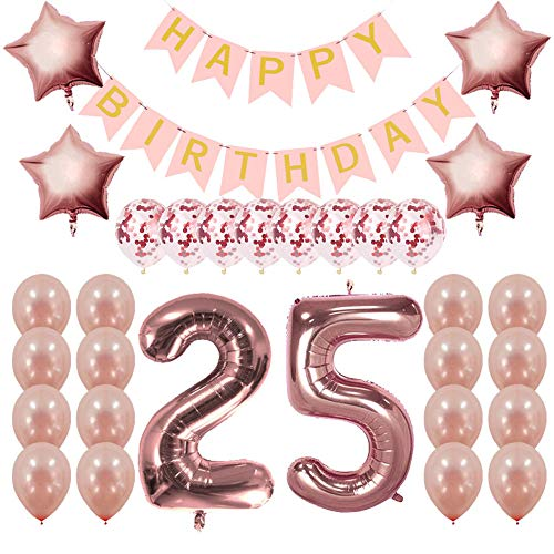 Rose Gold 25th Birthday Decorations Party Supplies - 25 Birthday Gifts for Girls Women 25th Birthday Banner and Balloons ()