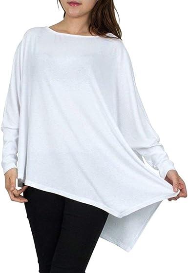 Betrothales Camiseta Asimétrica Manga Larga Blusa Camisas para Camisetas Camiseta Mujer para Manga Larga Asimétrica Mujer para Elegante Camiseta Larga Manga Mujer (Color : Blanco, Size : One Size): Amazon.es: Ropa y