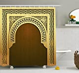 Moroccan Shower Curtain by Ambesonne, Middle Eastern Ramadan Greeting Scroll Arch Figure Celebration Holy Eid Theme, Fabric Bathroom Decor Set with Hooks, 70 Inches, Golden Brown