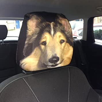 CAR SEAT HEAD REST COVERS 2 PACK COLLIE DOG DESIGN MADE IN YORKSHIRE