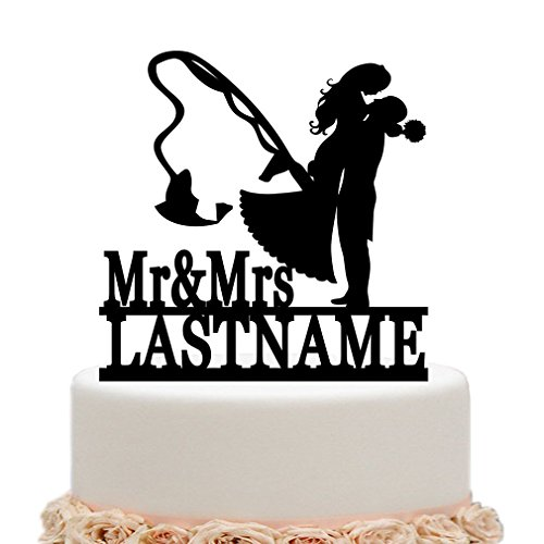 ivisi Personalized Wedding Cake Topper Funny Fishing Mr&Mrs Custom Last Name Surname Decoration Anniversary (Black)