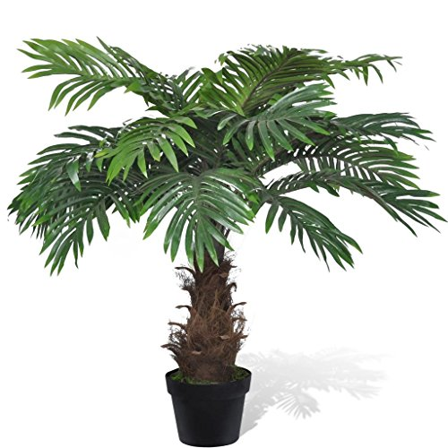 Cycas Palm Tree - Tidyard 31 inch Lifelike Artificial Cycas Palm Tree with Pot with 21 Leaves for Home Office Deco