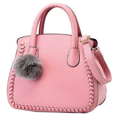 Wu Zhi Señoras PU mochilas Bolsos De Hombro Pink