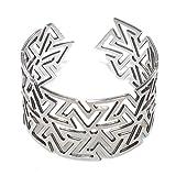 Unisex Silver Plated Adjustable Cuff Bracelet Ninja Throwing Star Bangle Cut Out Geometric Anime Shuriken