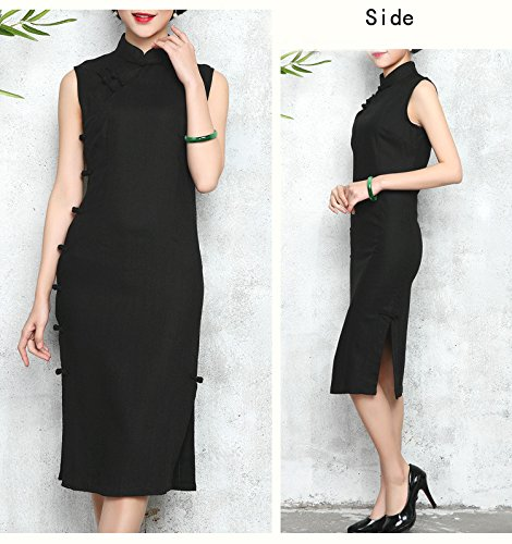 corta Qipao de manga color de mujer Cheongsam Acvip Chinese negro puro de noche Vestido para nTWq44