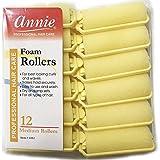 Annie Classic Foam Cushion Rollers #1052, 12 Count Yellow Medium 7/8 Inch (2 Pack)