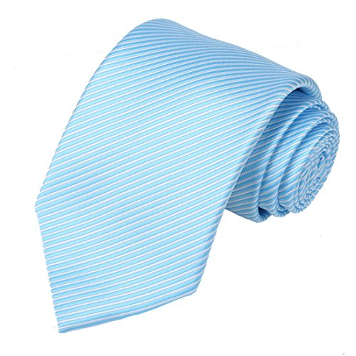 KissTies Mens Blue White Tie Striped Necktie Wedding Ties