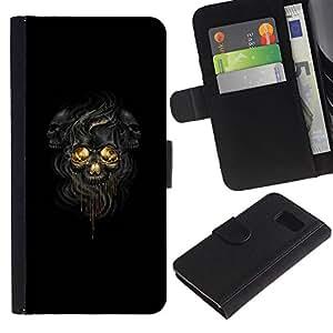 Stuss Case / Funda Carcasa PU de Cuero - Negro Oscuro Skulls - Sony Xperia Z3 Compact