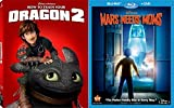 Disney Mars Needs Moms + How to Train your Dragon 2 Blu Ray + DVD Cartoons awesome Animated Set