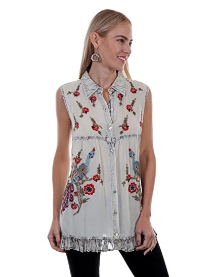 b0c332a6 Scully Women's Angeline Button Front Embroidered Top Vintage Blue Small