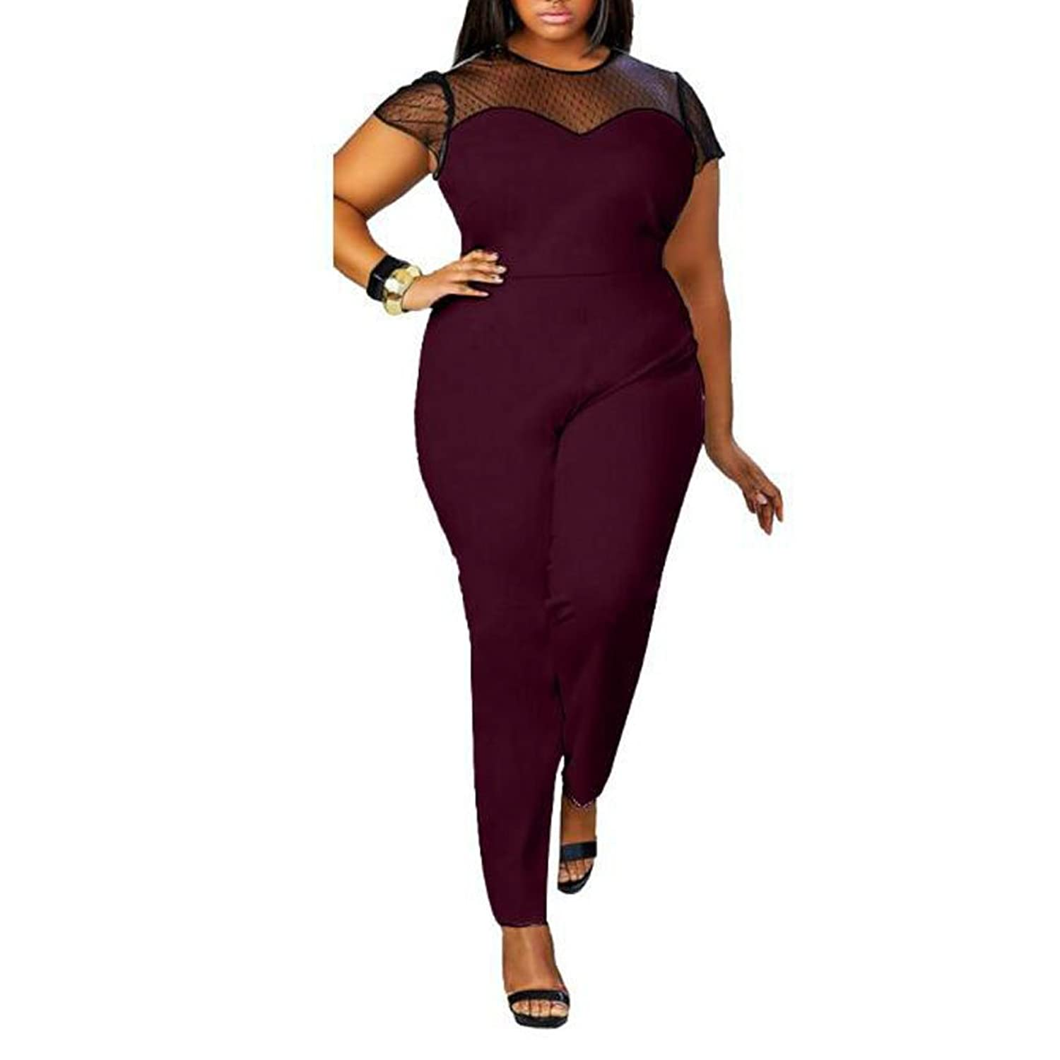 Zugoulook Womens Mesh Stitching See Through Short Sleeve Plus Size Long Pants Jumpsuits Rompers