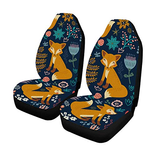 INTERESTPRINT Fox Bird Animal Flower Front Car Seat Covers Set of 2, Universal fit for Vehicles, Sedan and Jeep
