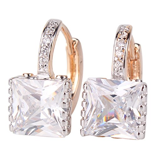 GULICX Gold Tone White CZ Zircon Sparkle Crystal Square Hoop Earrings for - Crystal Square Earring