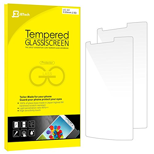 LG G3 Screen Protector, JETech 2-Pack Premium Tempered Glass Screen Protector Film for LG G3 LGG3 T-moible Sprint ATT Verizon - 0865