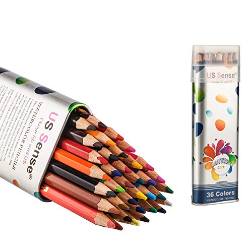 US Sense Colored Pencils Watercolor Coloring Pencils 36 Art Supplies Premium Drawing Pencils for Adult Coloring Books with Vibrant Colors