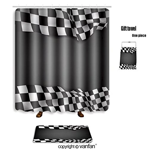 Delicate Vanfan Bath Sets With Polyester Rugs And Shower Curtain Vector Black Background Checkered Flag A Curtains Bathroom 36 X 72