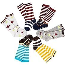Lovely Annie Unisex Children 6 Pairs Non-Skid Non-Slip Cotton Crew Socks 9M-3T
