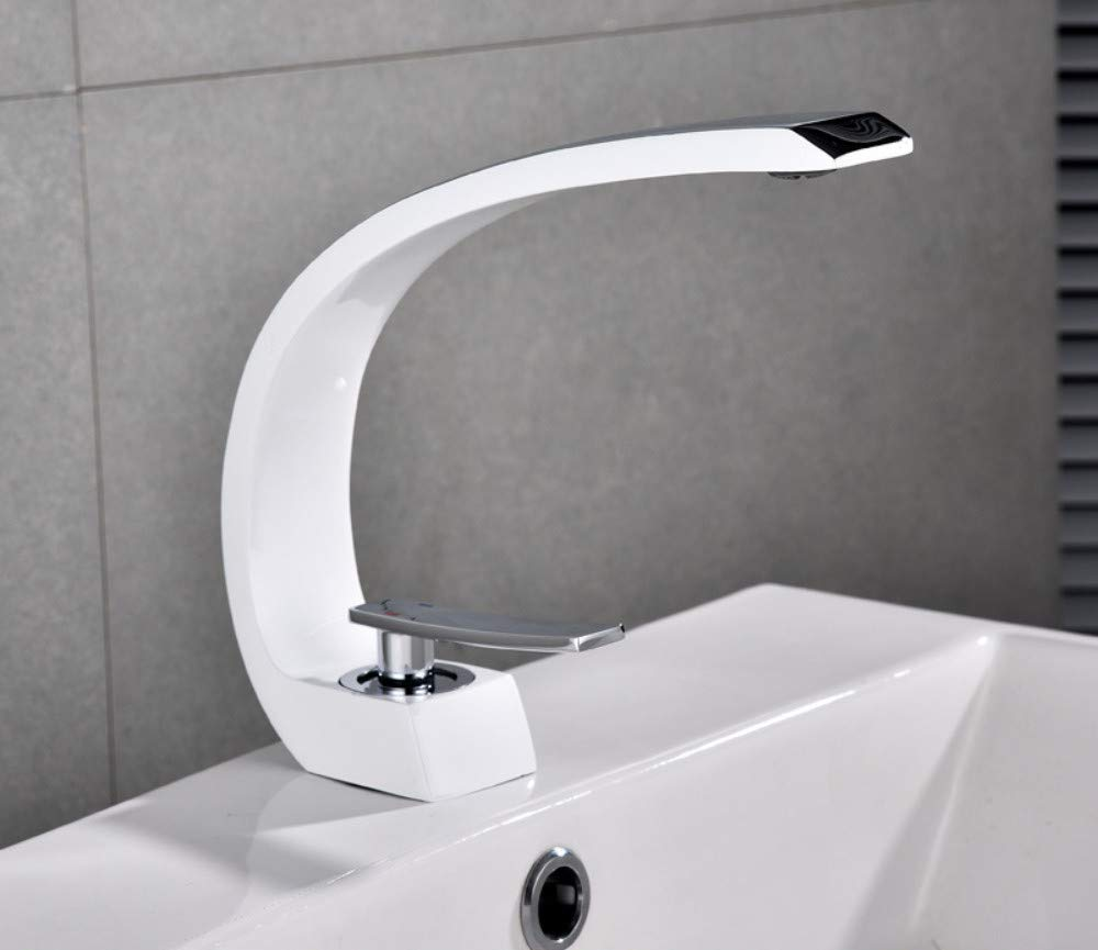 White + chrome XPYFaucet Faucet Tap Black Paint All Copper C-Shaped Plated Black Bathroom Ware, Brushed