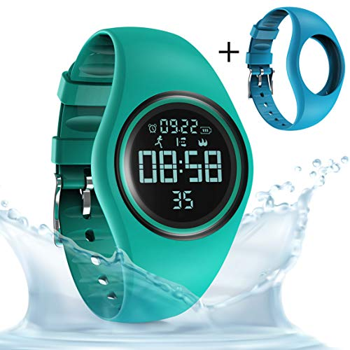 synwee Sports Fitness Tracker Watch, IP68 Waterproof, Non-Bluetooth, with Pedometer/Vibration Alarm Clock/Timer,for Kid Children Teen Boys Girls (Dark Green)