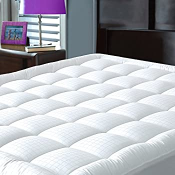 Mattress Pad Cover with Fitted Skirt - Hypoallergenic - Cotton Down Alternative Filled Mattress Topper, King