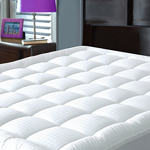 Pillowtop Mattress Pad Cover Queen Size - Hypoallergenic - Cotton Down Alternative Filled Mattress (Quilted Top Bedding)