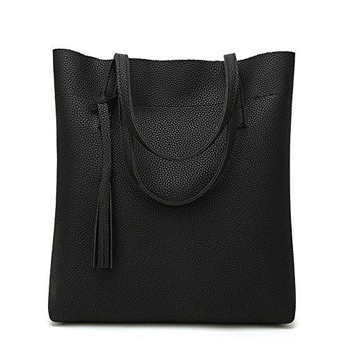 2018 Nuevo bolso Litchi Europa y América Moda hombro Simple Portable Señoras Big Bag, Rosa Negro
