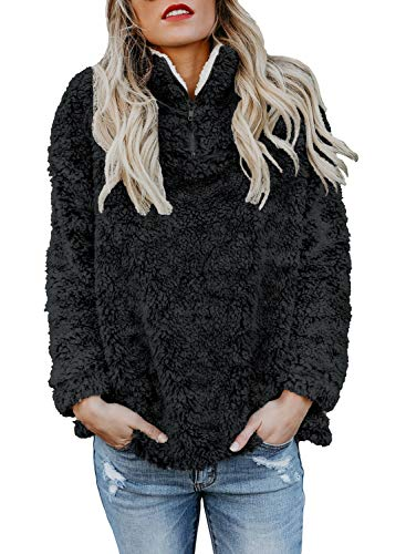 Dokotoo Womens Fashion Oversize Fluffy Fleece Sweatshirt Pullover Outwear S-XXL