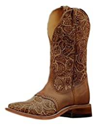 "Boulet Western Boots Womens Floral Sumumtex 11"" Tan Brown 6341"