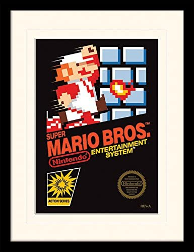 Amazon Com Iposters Super Mario Bros Nes Cover Framed Mounted