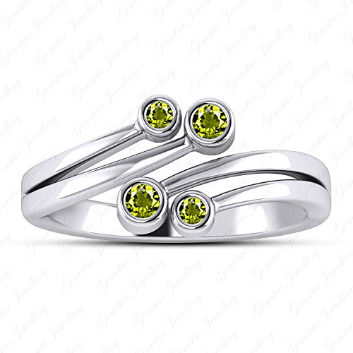 Gemstar Jewellery 14k White Gold Plated Round Cut Peridot Bypass Adjustable Toe Ring In 925 Silver