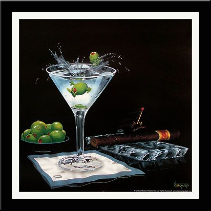 'OLIVE PARTY II' Cigar Martini art FRAMED/MATTED PRINT - Michael Godard 18x18