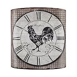 Stylized Rooster Wall Clock in Grey Tartan