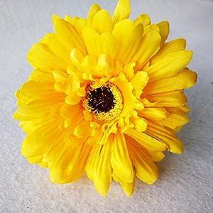 10 PCS Real Touch Latex Silk Artificial fake plastic Daisy Chrysanthemum Flowers Sun Chrysanthemum,Sunflower, Simulation Gerber, Dimorphotheca,Party Room home Decoration DIY Flower Bouquet (Yellow) 2