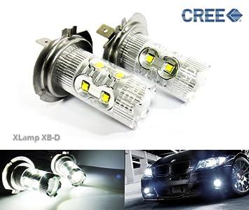 2 bombillas LED H7 499 Cree de 50 W de luz lateral para faros delanteros de día principal DRL antiniebla: Amazon.es: Coche y moto