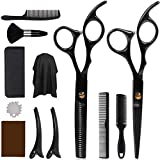 DigHealth 12 Pcs Hair Cutting Scissors Kit, Professional Hairdressing Scissors Kit with Stainless Steel Thinning Scissors, Comb, Cape and Clips, Hair Cutting Shears Set for Baber, Salon and Home