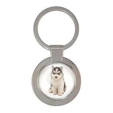 Amazon.com: Husky cachorro perro imagen Metal Chunky llavero ...