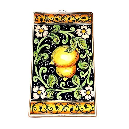 CERAMICHE D'ARTE PARRINI - Italian Ceramic Art Tile Pantiles Pottery Paint Lemons Blu Hand Painted Made in ITALY Tuscan