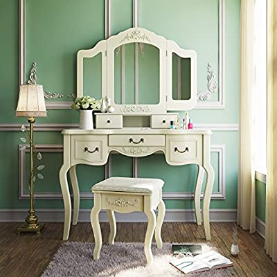 Tribesigns French Vintage Ivory Vanity Dressing Table Set Makeup Desk with Stool & Mirror Bedroom