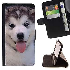 Momo Phone Case / Flip Funda de Cuero Case Cover - Husky siberiano perro lindo del perrito; - Samsung Galaxy J1 J100