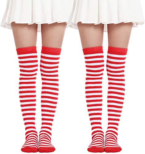 (Women's Over Knee Long Sock Striped Thigh High Socks Girl Long Knitting Socks Cute Cosplay Stockings(2 Pairs Red White socks))