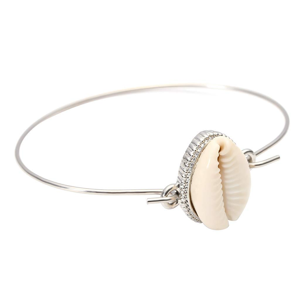 CapsA New Popular Gorgeous White Women Jewelry Bangle Bracelet Shell Wedding Bridal Gifts (Silver)