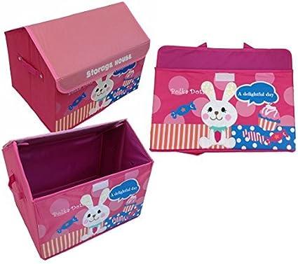 GMMH Dise/ño Caja Juegos Casa Conejo 42 cm x 31 cm x 34 cm Caja de Almacenamiento Caja de Juguetes Compartimiento de almacenaje Muebles para ni/ños
