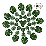 Tropical Palm Leaves and ‎Butterfly Palm,36 Pcs Reusable Fake Leaves with Variety of Sizes for Jungle Themed Party,Havana Nights,Baby Shower Decor,Luau Table Decor (Green1)